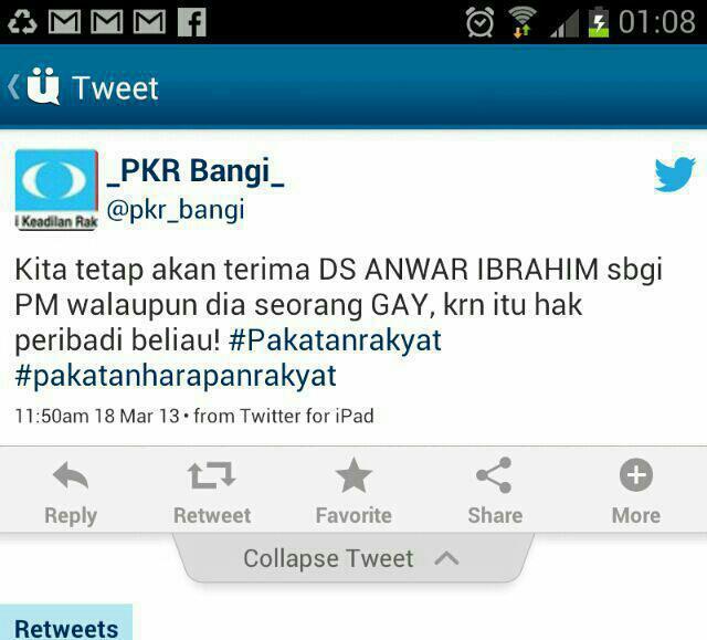 Printscreen Twitter daripada PKR Bangi seolah-olah mengakui 'orang' itu adalah Anwar Ibrahim